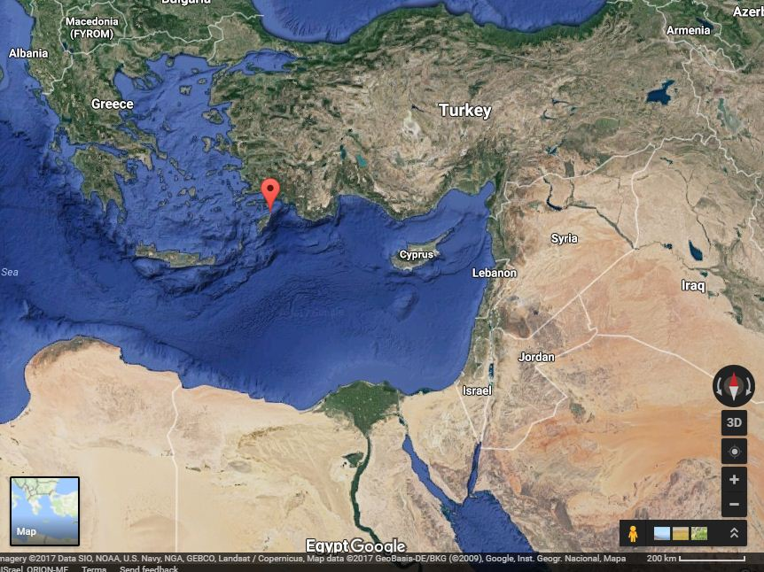 Location of Rodos island, on the crossroads of the Mediterranean, the Red Sea and the Middle East