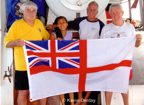 Phil Yeutter-Alice Skoglie-Vidar Skoglie and Kevin Denlay after their discovery and first dive on HMS Exeter