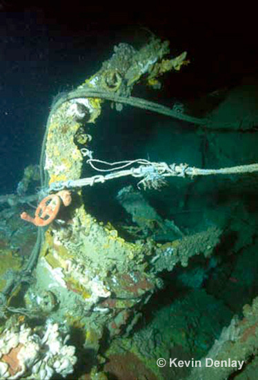 A collapsed 120cm - 47 inch searchlight stand on the wreck of Hr. Ms. Java. The rope lines seen in the photograph are from the remains of snagged (and then discarded) commercial fishing nets