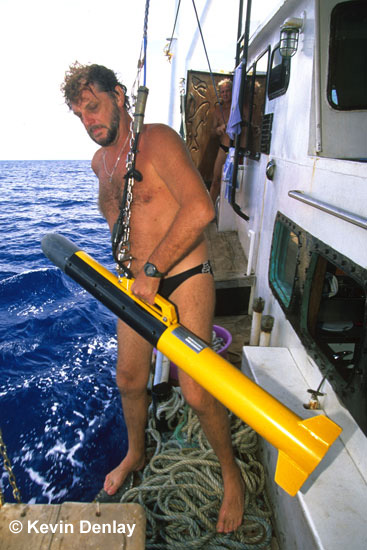 The late Clive Merrifield launching a Side-Scan Sonar tow-fish from MV Empress, December, 2002