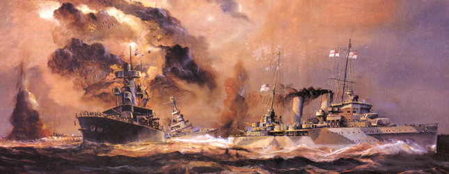 A painting of the Battle of the Java Sea; Night Action. HMAS Perth, right, narrowly avoids the stricken Hr. Ms. De Ruyter, while USS Houston maneuvers in the background. Both Perth and Houston were sunk two days later during the Battle of Sunda Strait leaving the Japanese in complete control of the Java Sea