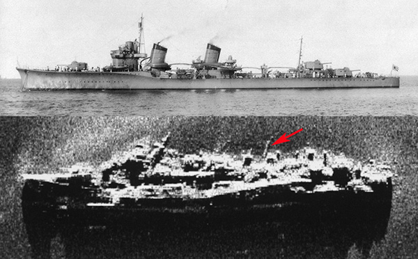 Top, HIJMS Amagiri. Bottom, Side-Scan Sonar image of her wreck. Red arrow points to a 'live' torpedo