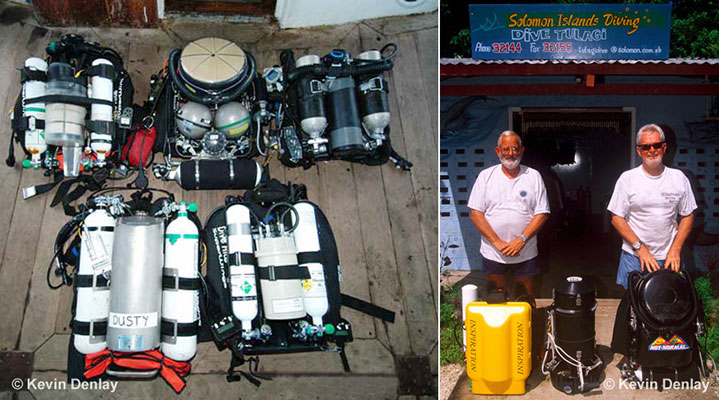 Right: A rose surrounded by thorns; Kevin's MK15.5 CCR top centre (note the spherical Inconel cylinders, and large circular Co2 'scrubber' above them) and four other Closed Circuit Rebreathers, making a total of five different CCR models in the picture. Right: Kevin and his good friend the late Peter Frith. Peter used a yellow Inspiration model CCR, one of the first commercially available models and still one of the most popular. (Kevin's was an ex-military model, as other units were not readily available when he began CCR diving.) Tulagi Island, Solomon Islands, 2002