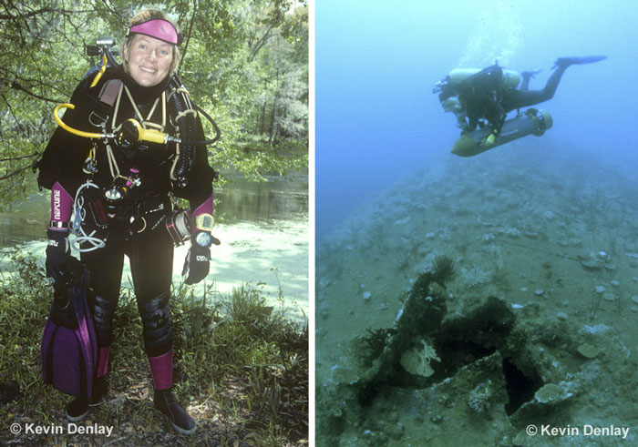 Kevin's beautiful wife Mirja was his dive partner on reefs, in caves and on wrecks all around the world for sixteen years, until she immersed herself into the medical field and then, at fifty years of age, went back to university, and became a Registered Nurse. Left; after a deep cave dive, Eagles Nest cave, Florida, circa 1995. Right, riding an Aquazepp Diver Propulsion Vehicle, or scooter, of a Japanese Maru (note the bomb exit hole on the wartime freighter, sunk in 1942), during a 'work-up' dive for her upcoming dive on the USS Atlanta: Guadalcanal, Solomon Islands, 1998