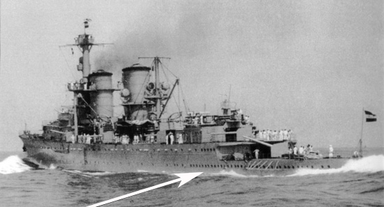 Arrow points to directly above where a torpedo from the Japanese heavy cruiser HIJMS Nachi hit Java's stern, in the process detonating the main aft ammunition magazines, severing the entire stern section and absolutely demolishing it in the process