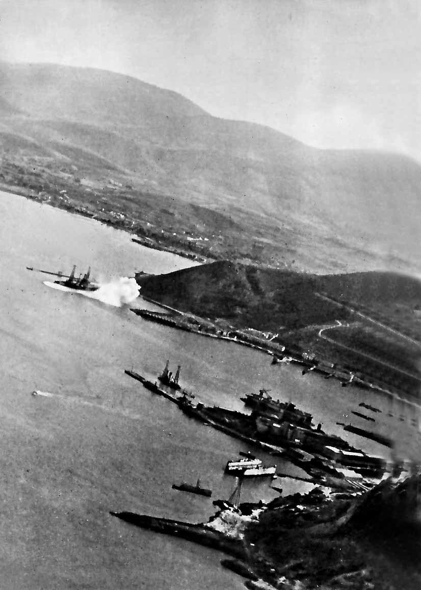 """The German aerial attack hit """"Lemnos"""" in the background, with """"Kilkis"""" visible in the middle of the photo on April 23, 1941"""
