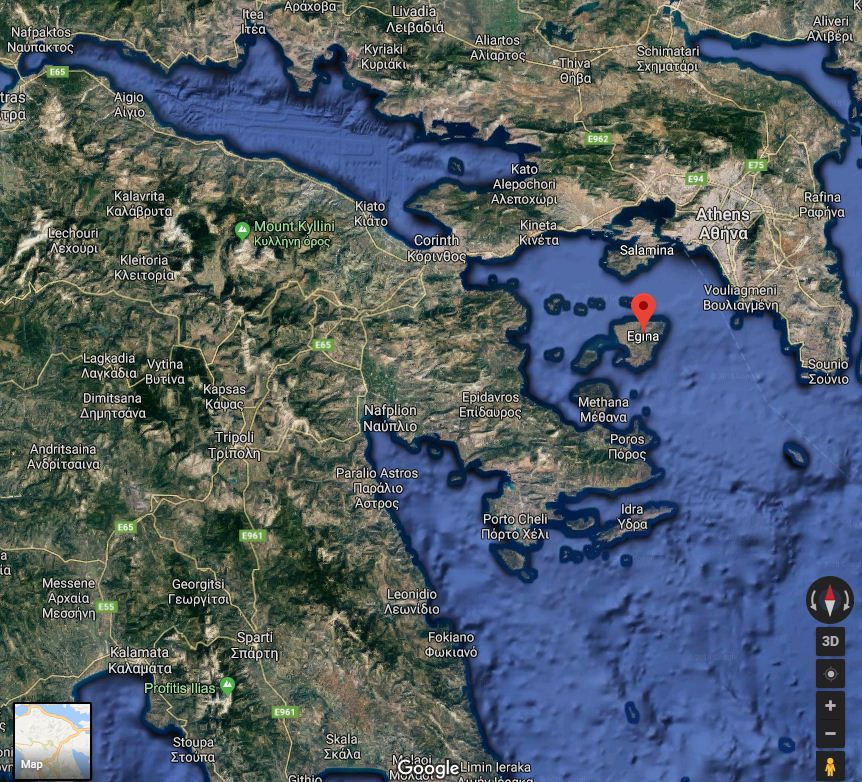 Aegina island is strategically located in the Saronic gulf, controlling the seways leading to the port of Piraeus