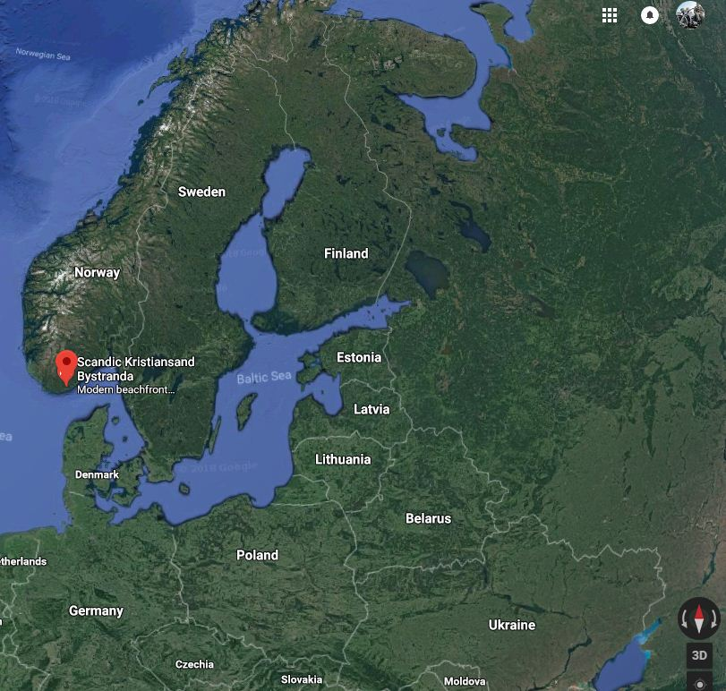 Location of the Bunker Complex close to Kristiansand, Norway