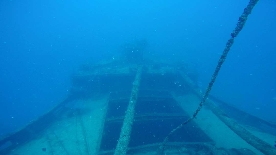 Cargo hold no.1 of the Akibasan Maru, looking forward towards the bow