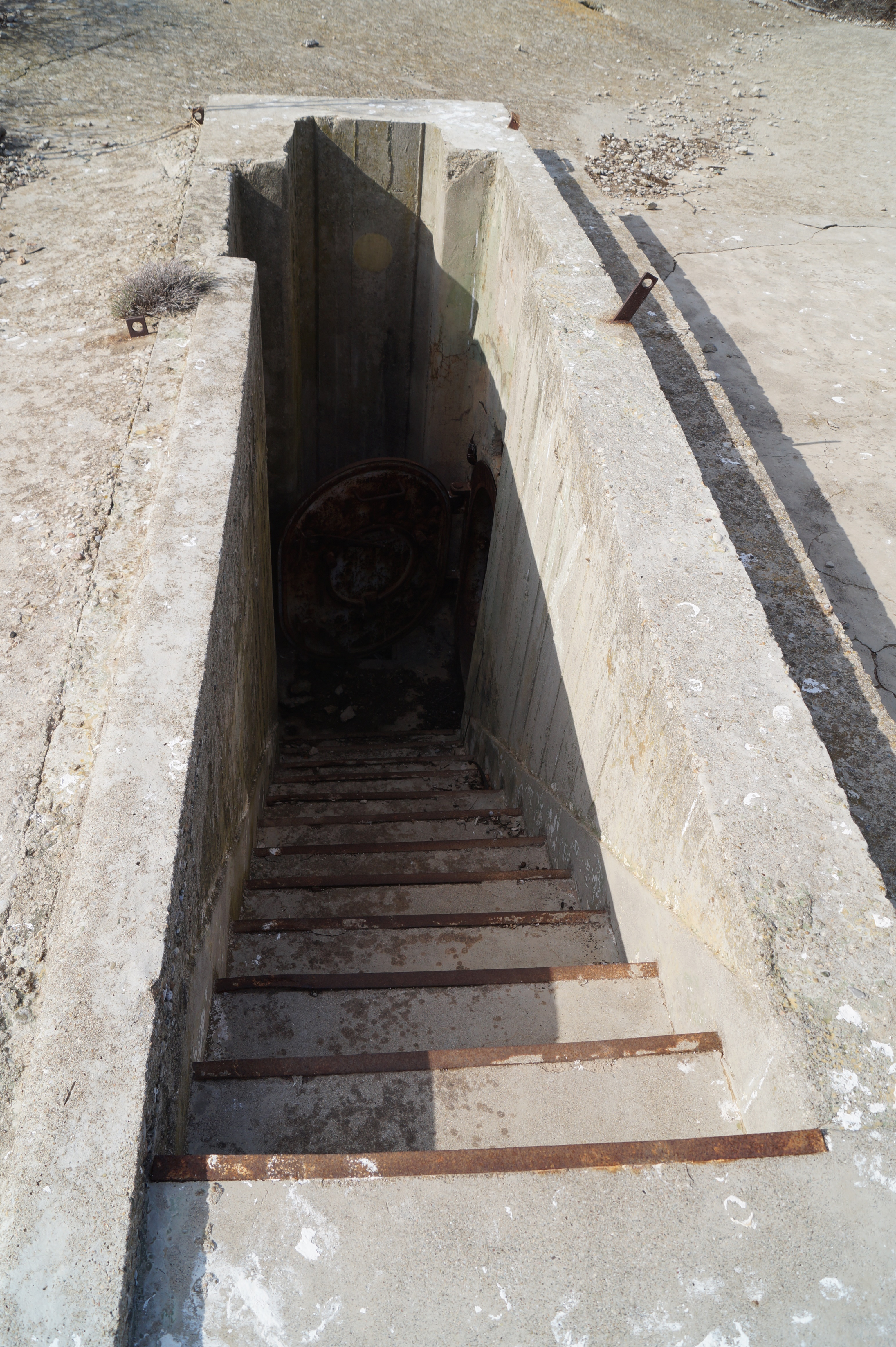 Concrete staircase to the entrance of the bunker complex.