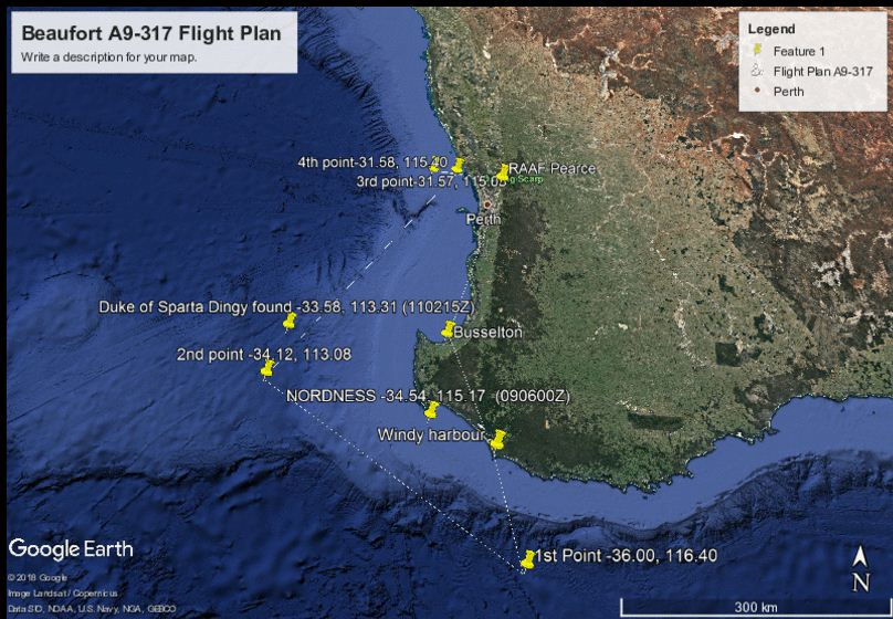 A detailed flight path of the lost Beaufort, made by an ex-RAAF staff member.