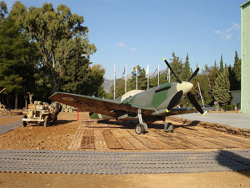 """The """"Greek"""" Spitfire on static display at the Hellenic Air Force Museum"""