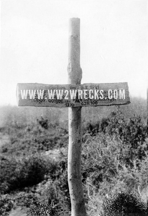 """Mass grave ofGermans killed during the first days of the offensive against the Greek fortresses at """"Metaxas Line"""". Note the date, 8.IV.1941, two days after the start of the invasion."""