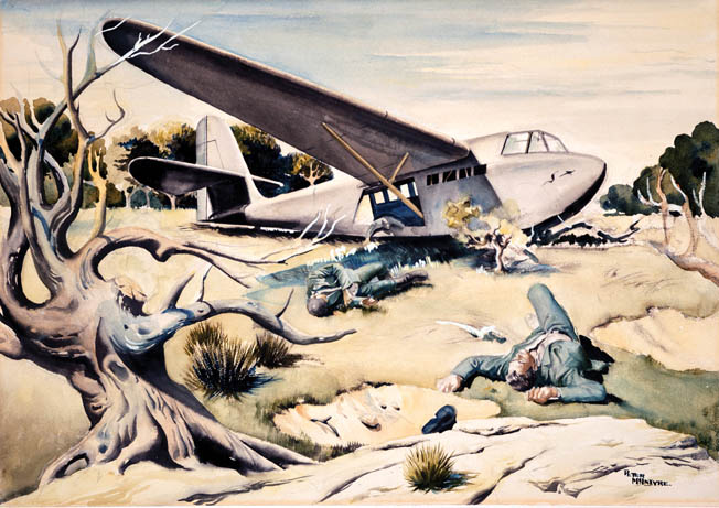German glider troops, killed while exiting their machine, sprawl beside the fuselage in a painting by New Zealand combat artist Peter McIntyre. Produced by New Zealand Micrographic Services Ltd. April 2007 Equipment: Lanovia C550 Software Used: Adobe Photoshop CS2 9.0. This File is the property of Archives New Zealand