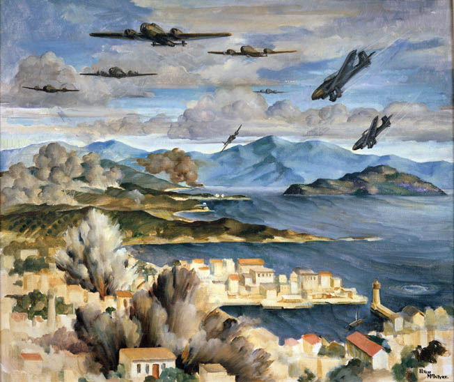 "Another painting by McIntyre shows German aircraft attacking New Zealand positions at Canea, Crete. German air superiority severely limited British ships unloading supplies except at night, and also provided ""aerial artillery"" for the German attackers once on the ground. Produced by New Zealand Micrographic Services Ltd Date: May 2007 Equipment: Lanovia C-550 Scanner Software Used: Adobe Photoshop CS2 9.0 This file is property of Archives New Zealand"