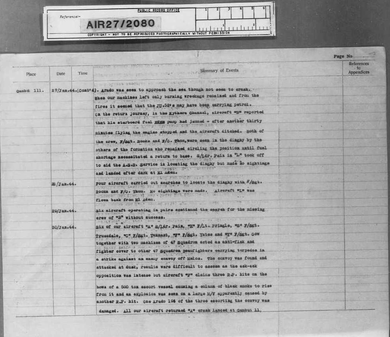 The ORB of 603 sq. RAF on the Mykonos air battle