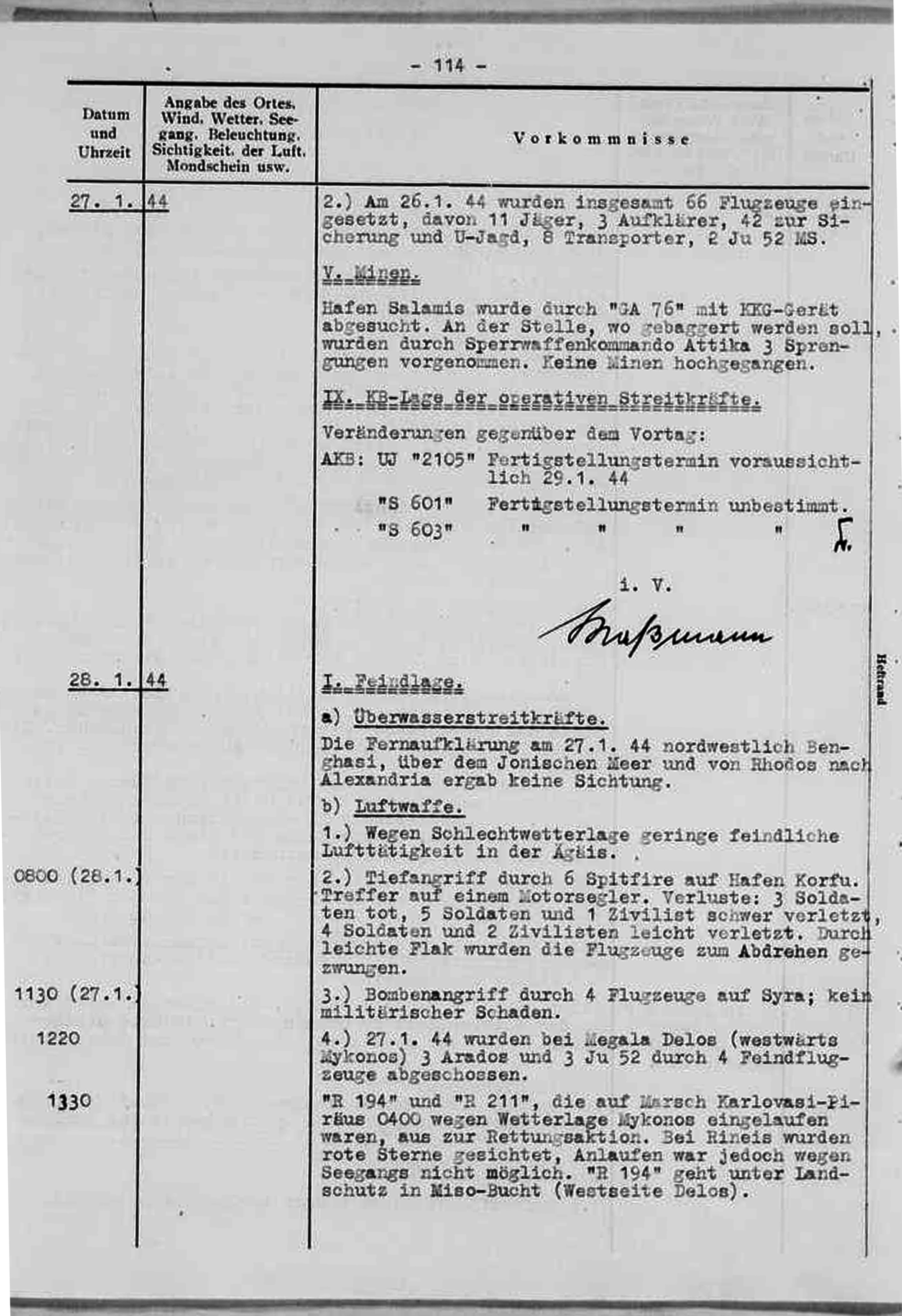 The German report on the incident