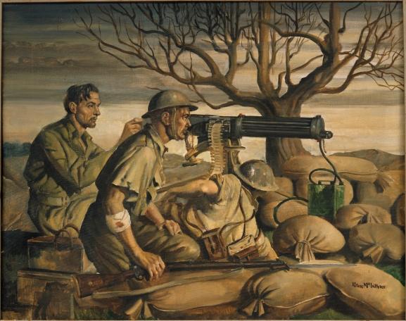 Machine gunners on alert at dawn, behind their World War One style Vickers machine gun.  Oil, 562 x 700mm Greek Campaign