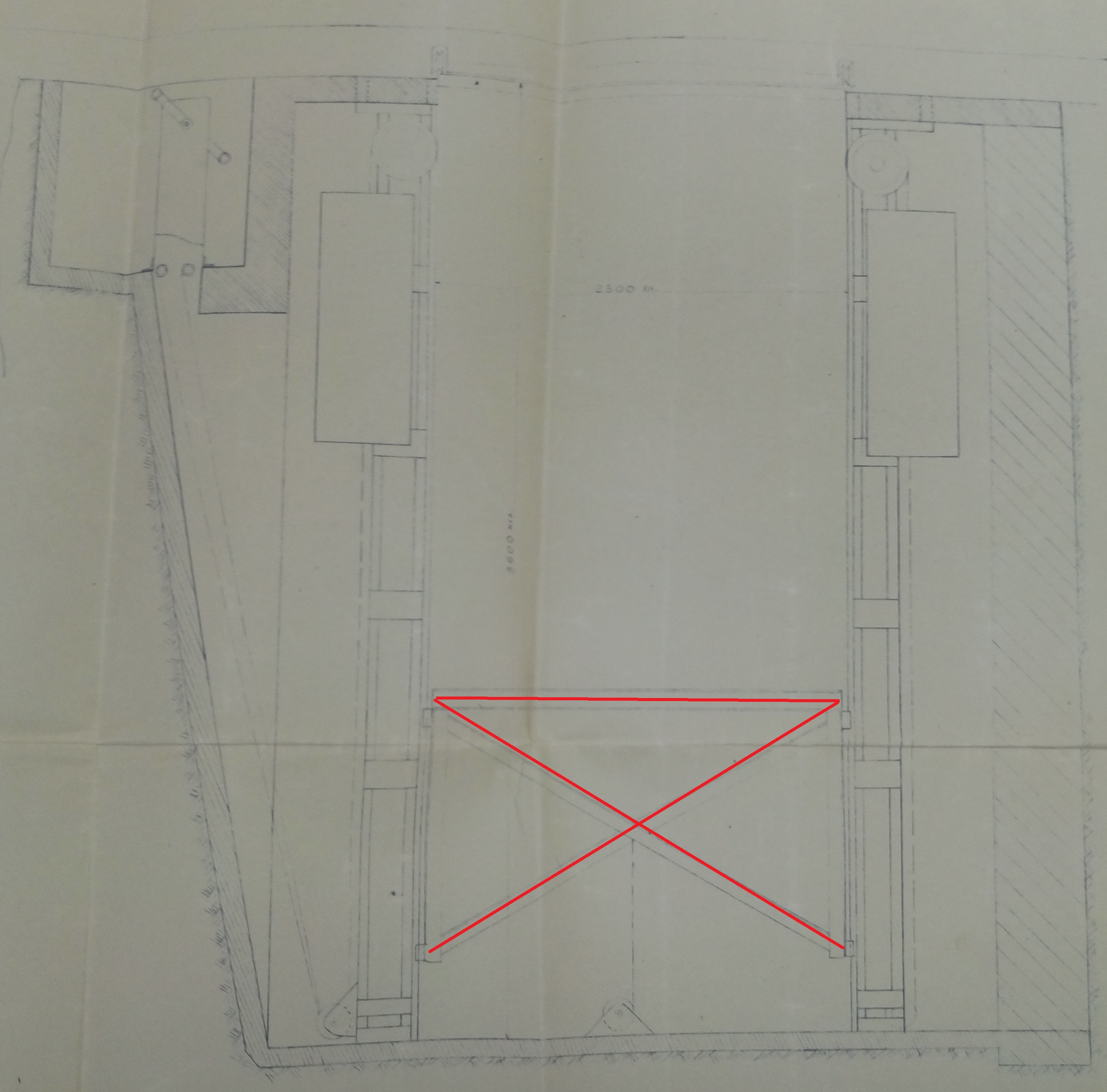 The original contruction plan, which shows the elevator mechanism of the search light