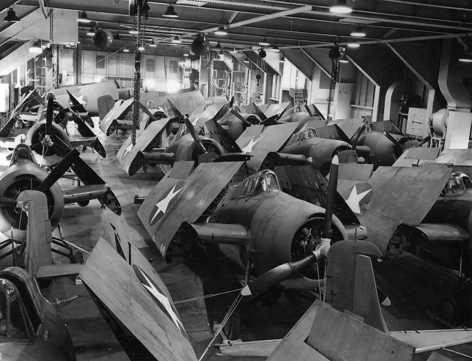 F4F-4_Wildcats_packed_on_the_hangar_deck_of_the_USS_Charger_AVG-30_2_October_1942