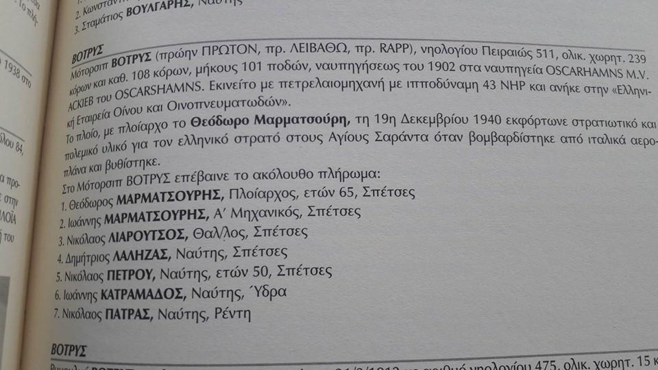 Η καταγραφή της βυθίσεως του ΒΟΤΡΥΣ στο περίφημο βιβλίο του Χ. Ντούνη (Τόμος Α')
