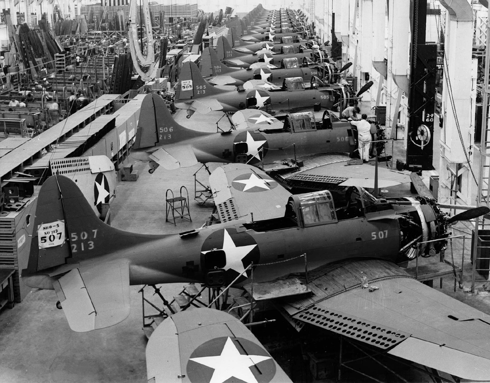 SBD's being manufactured at the Douglas plant in El Segundo, California in 1943