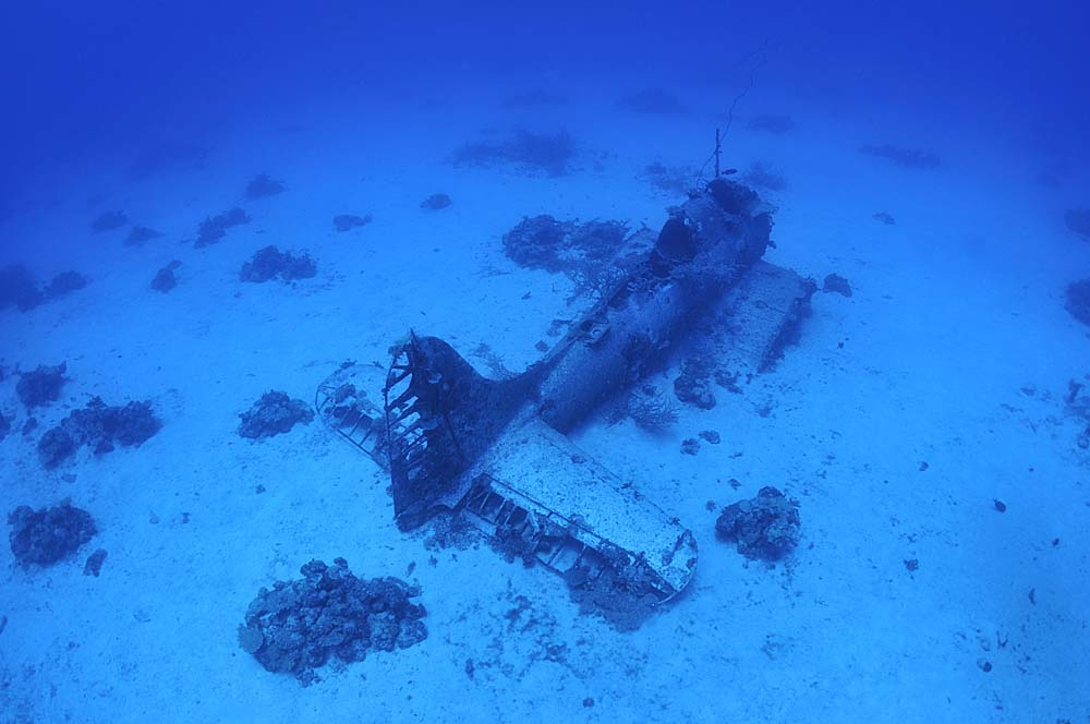 Some of the SBD wrecks are missing their wings
