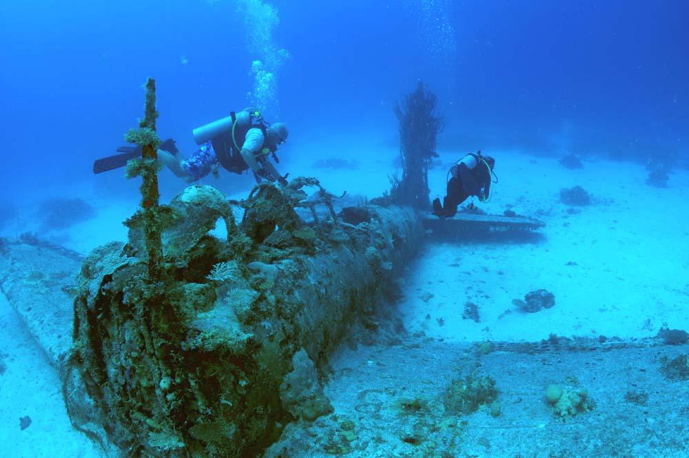 Divers explore a Dauntless in Kwajalein lagoon.