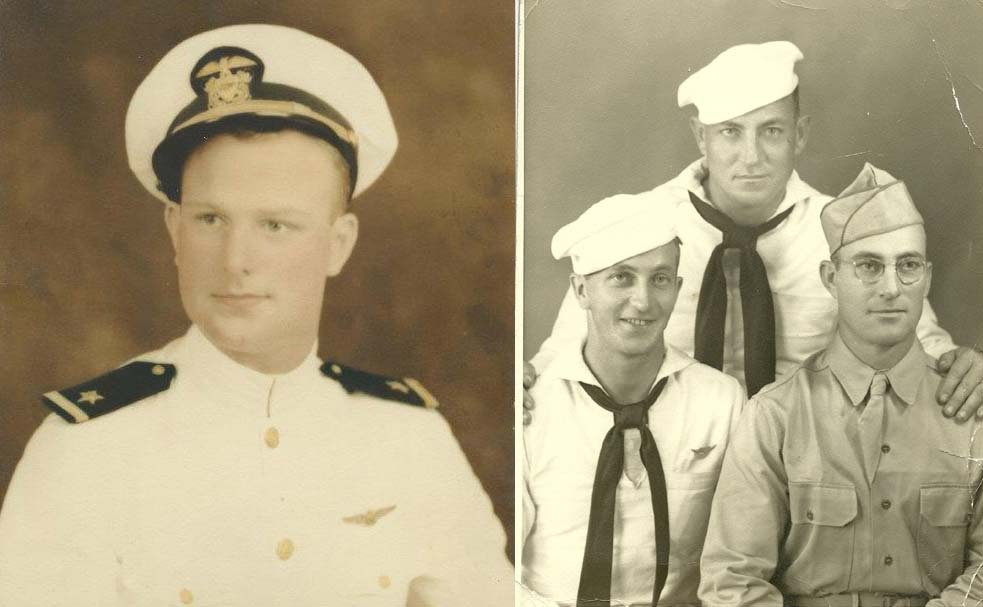 During the December 4, 1943 strike on Kwajalein Atoll, a SBD-5 of VB-16 was lost while dive-bombing the Japanese cruiser IJN Isuzu. Lt. William Fitch (at left) and Aviation Radioman 1st Class John Linson (wearing aircrew wings in the wartime photo with his two brothers) were the crew lost when the plane crashed into the lagoon. (photos courtesy of the Fitch and Linson families, used by permission)