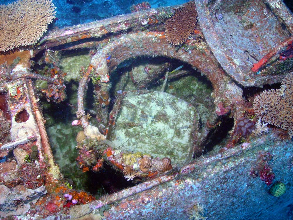 The rear gunner's seat and gun ring mount can still be seen on this SBD wreck