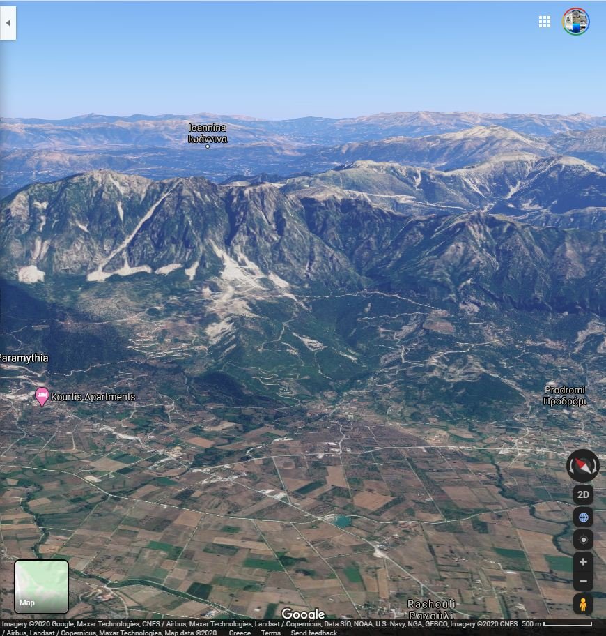 The same area today on Google maps. Note the mountains in the background.