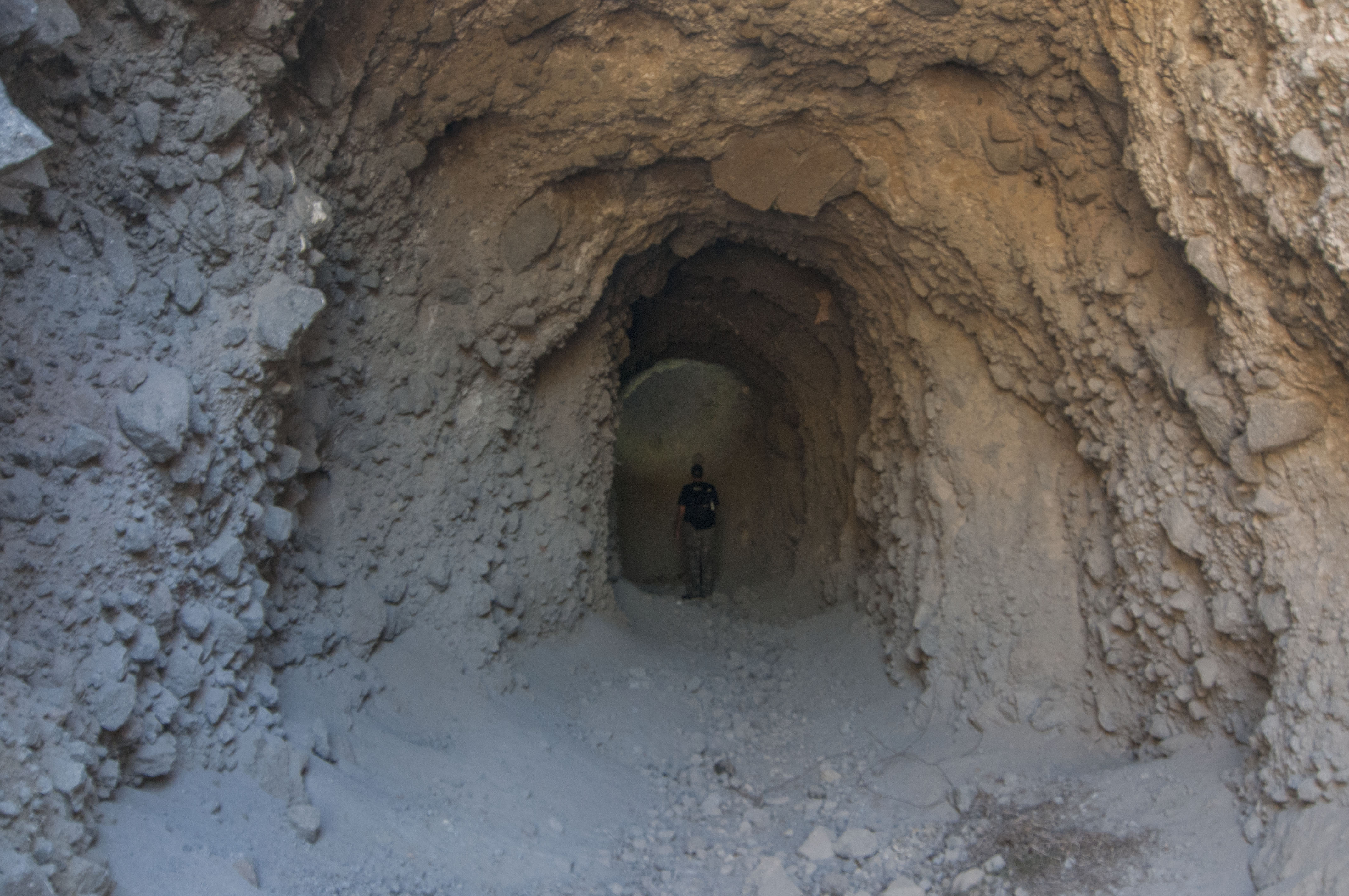 The carved tunnel, with a height of approx. 4 metres.