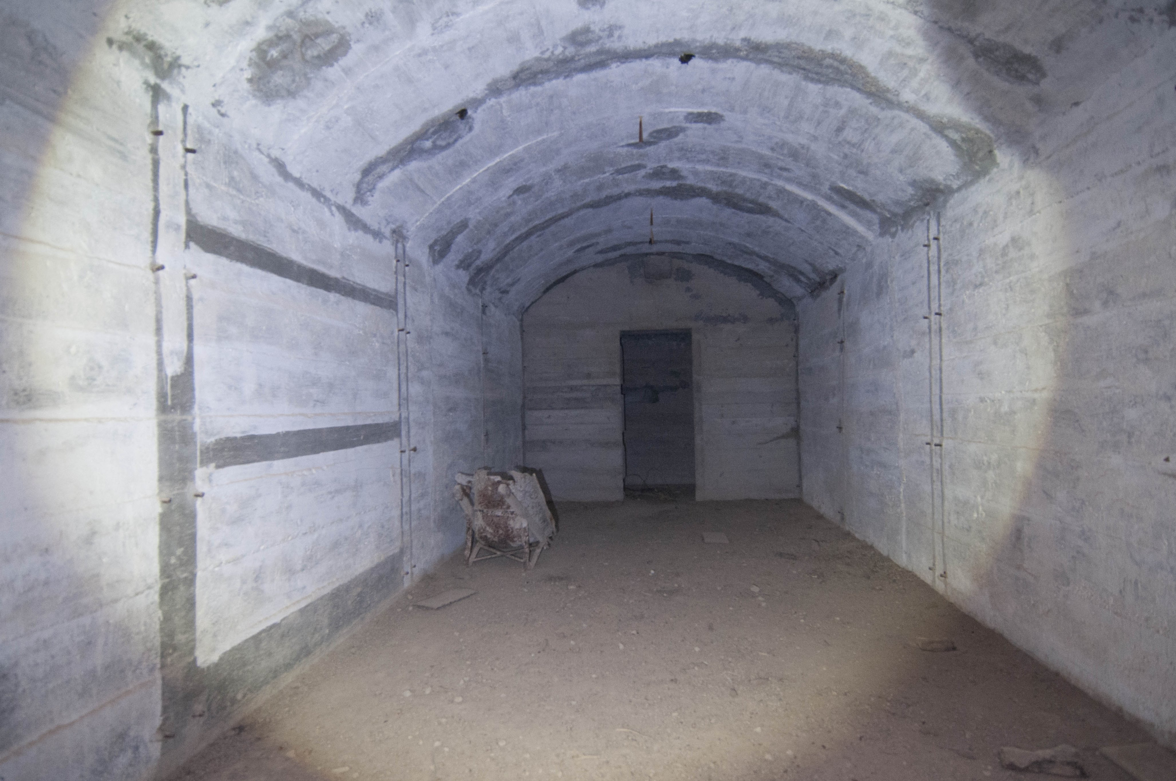 Remains of steel beds lead Konstantinos Kirimis to believe that this shelter was used by the gun crews.