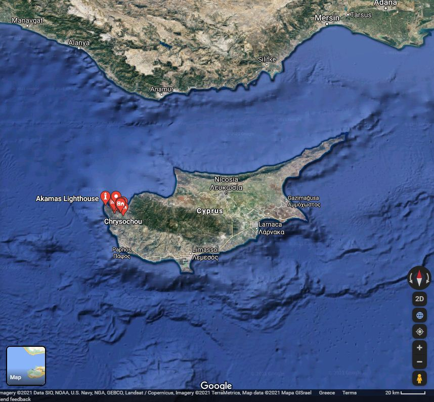 The crashed aircraft parts were found close to Akamas, on the western tip of Cyprus