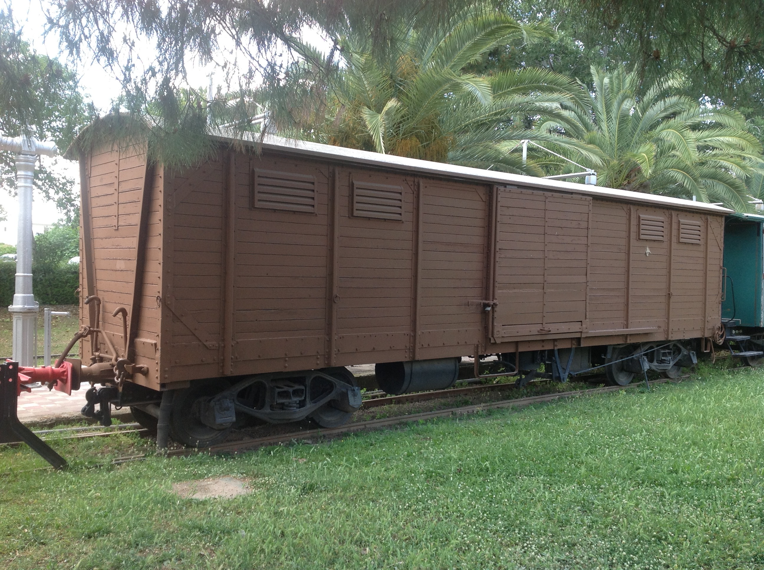 a cattle truck in the Kalamata Railway museum which for many was the mode of transport to Germany.