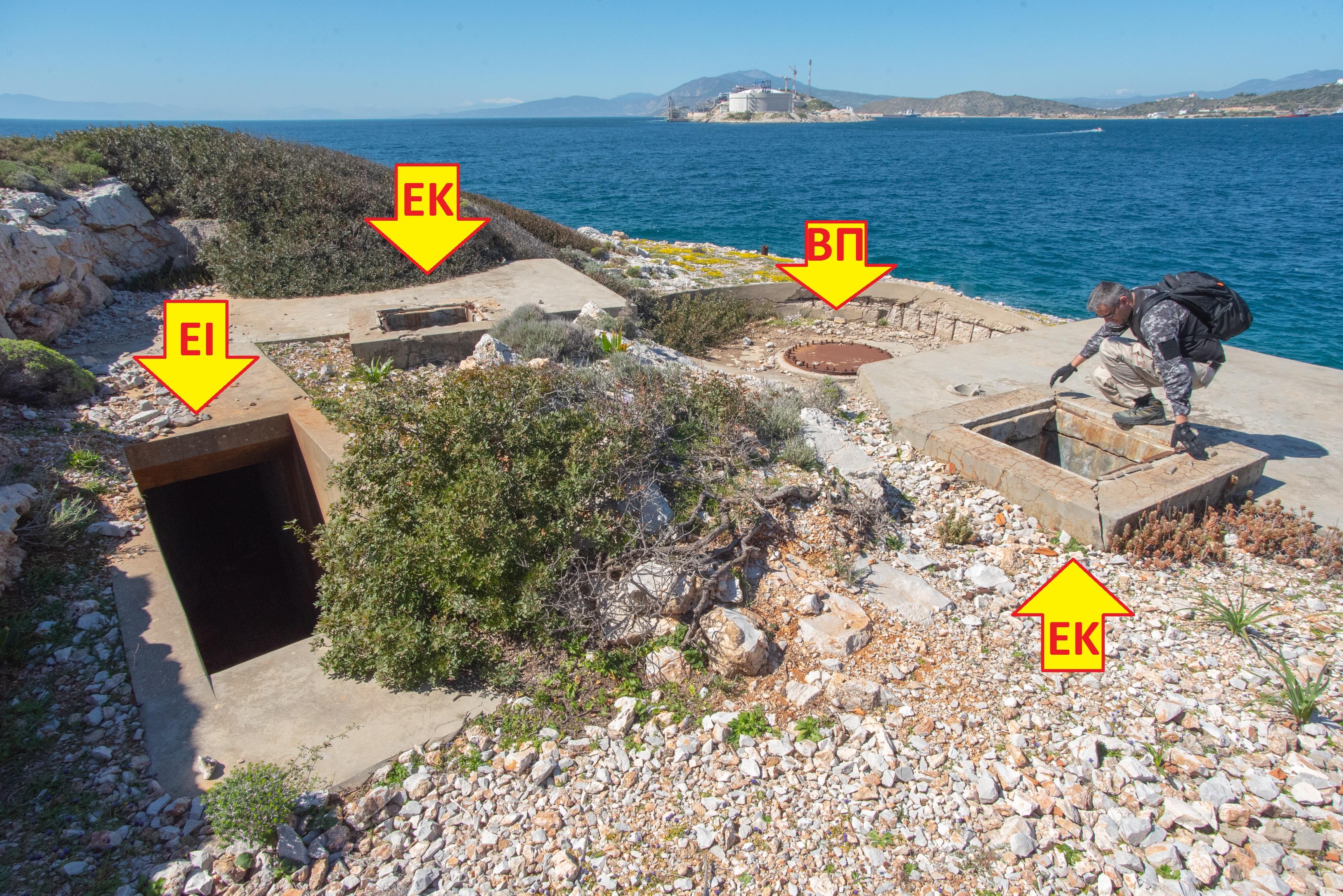 EI=Entrance EK=Emergency Exit BΠ=Gun position