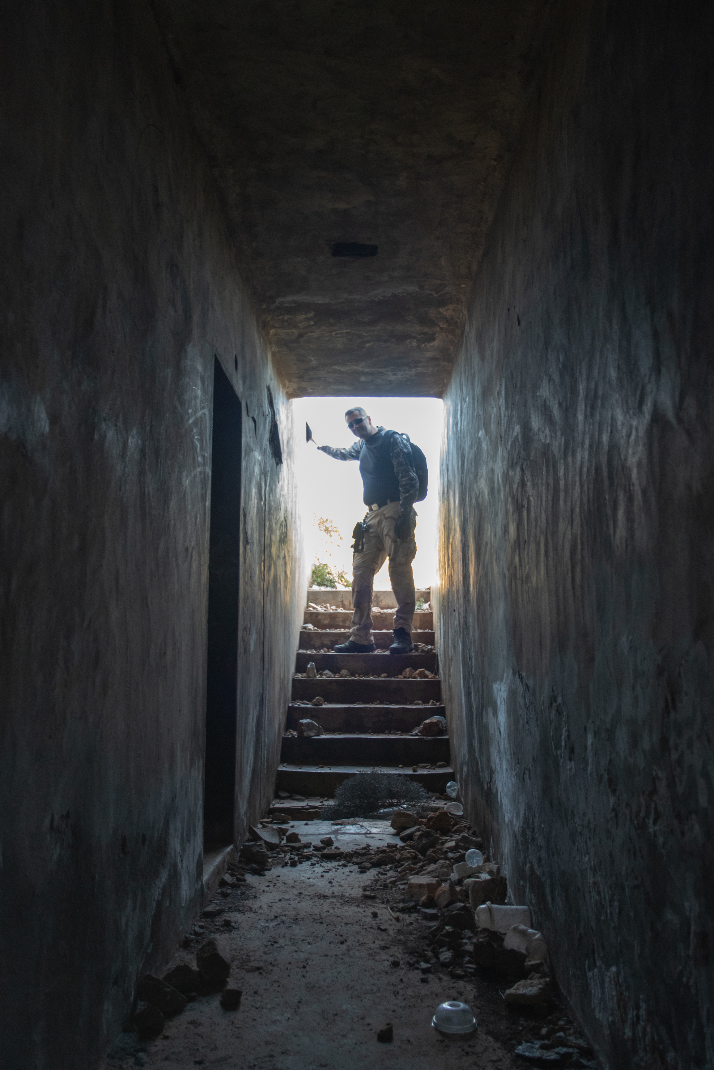 Konstantinos Kirimis enters the underground bunker