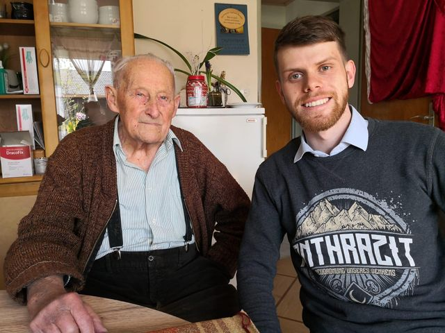 100 year old veteran of the Luftwaffe Mr. Hans Schnaider with author and researcher Mr. Adrian Matthes.